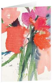 """Kunstkarten """"Rote Blüten"""" - 5 Stück"""