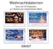 Postkartenserie Weihnachten: Laternen, 12 Stück