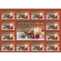 Aufkleber-Gruß-Karten: Im Licht der Weihnachtsfreude 12 Stück