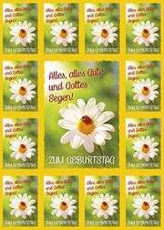 Aufkleber-Gruß-Karten: Zum Geburtstag - 12 Stück